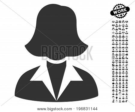 Office Lady icon with black bonus profession pictograms. Office Lady vector illustration style is a flat gray iconic symbol for web design app user interfaces.