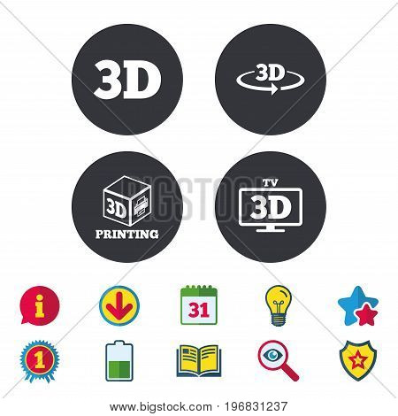 3d technology icons. Printer, rotation arrow sign symbols. Print cube. Calendar, Information and Download signs. Stars, Award and Book icons. Light bulb, Shield and Search. Vector