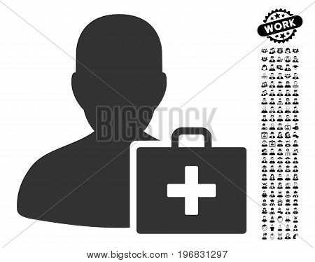 Paramedic icon with black bonus profession icon set. Paramedic vector illustration style is a flat gray iconic symbol for web design app user interfaces.