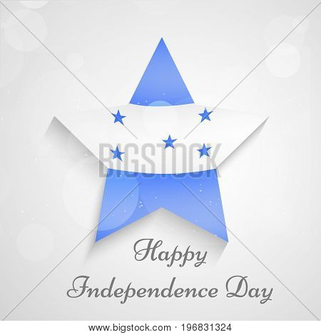 illustration of star in Honduras flag background with Happy Independence day text on the occasion of Honduras Independence Day