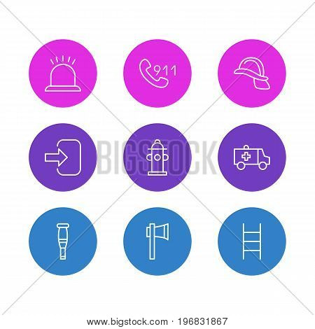 Editable Pack Of First-Aid, Stairs, Spike And Other Elements.  Vector Illustration Of 9 Necessity Icons.