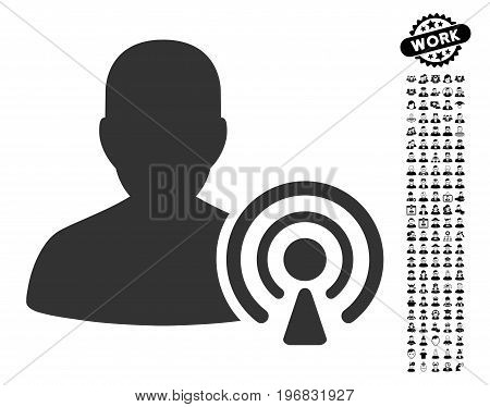 Podcast Creator icon with black bonus professional icon set. Podcast Creator vector illustration style is a flat gray iconic symbol for web design app user interfaces.