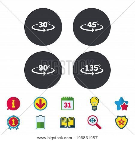 Angle 30-135 degrees icons. Geometry math signs symbols. Full complete rotation arrow. Calendar, Information and Download signs. Stars, Award and Book icons. Light bulb, Shield and Search. Vector