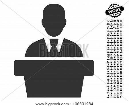 Politician icon with black bonus profession design elements. Politician vector illustration style is a flat gray iconic symbol for web design app user interfaces.