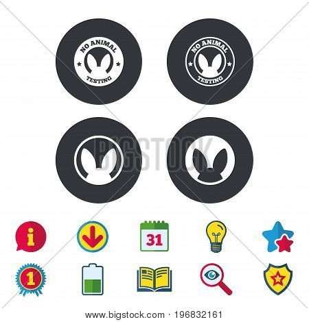 No animals testing icons. Non-human experiments signs symbols. Calendar, Information and Download signs. Stars, Award and Book icons. Light bulb, Shield and Search. Vector