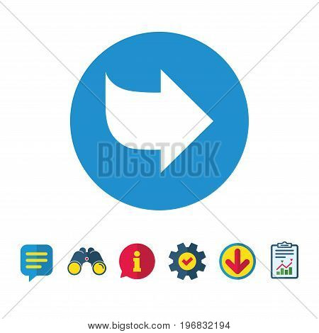 Arrow sign icon. Next button. Navigation symbol. Information, Report and Speech bubble signs. Binoculars, Service and Download icons. Vector