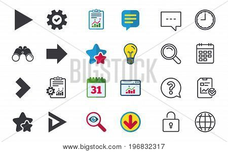 Arrow icons. Next navigation arrowhead signs. Direction symbols. Chat, Report and Calendar signs. Stars, Statistics and Download icons. Question, Clock and Globe. Vector