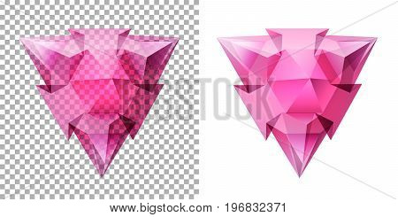Vector transparent complex geometric shape based on tetrahedron. Cool red