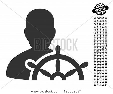 Ship Captain icon with black bonus people clip art. Ship Captain vector illustration style is a flat gray iconic symbol for web design app user interfaces.
