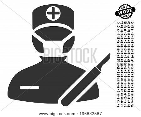 Surgery icon with black bonus men design elements. Surgery vector illustration style is a flat gray iconic element for web design app user interfaces.