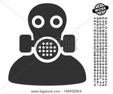 Toxic Work icon with black bonus people images. Toxic Work vector illustration style is a flat gray iconic element for web design app user interfaces.