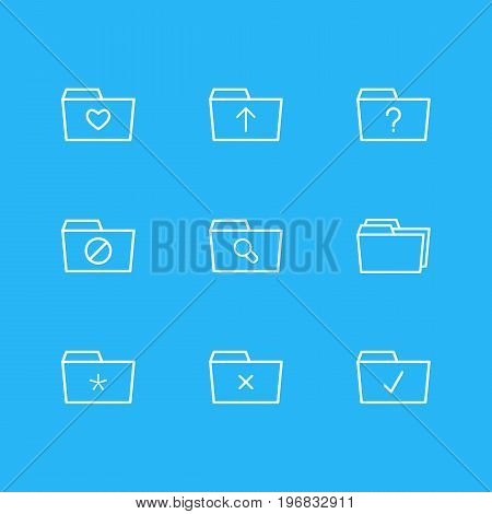 Editable Pack Of Folders, Remove, Submit And Other Elements.  Vector Illustration Of 9 Document Icons.