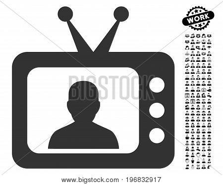 TV Speaker icon with black bonus work images. TV Speaker vector illustration style is a flat gray iconic symbol for web design app user interfaces.