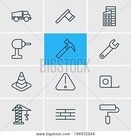 Editable Pack Of Spanner, Lifting, Hatchet And Other Elements.  Vector Illustration Of 12 Structure Icons.