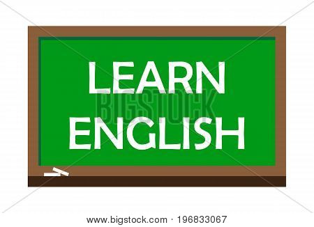Learn English write on green board, isolated backgraund