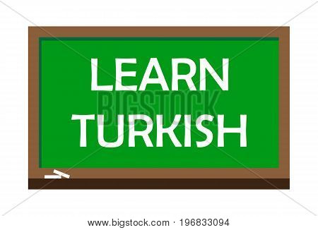 Learn Turkish write on green board, isolated backgraund