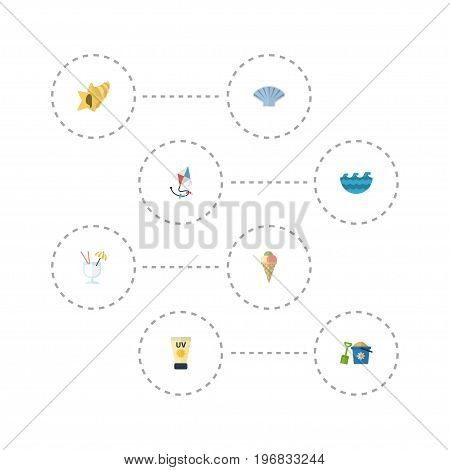 Flat Icons Conch, Sea, Sorbet And Other Vector Elements