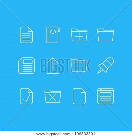 Editable Pack Of Blank, Journal, Install And Other Elements.  Vector Illustration Of 12 Bureau Icons.
