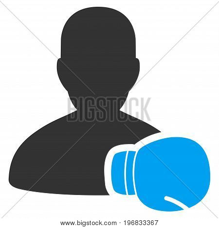 Boxing Sportsman vector pictograph. Style is flat graphic bicolor symbol blue and gray colors white background.