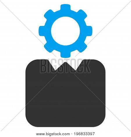 Bureaucrat vector pictograph. Style is flat graphic bicolor symbol blue and gray colors white background.