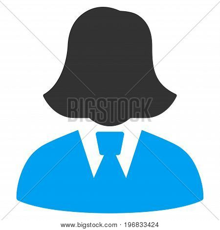 Business Lady vector pictogram. Style is flat graphic bicolor symbol blue and gray colors white background.