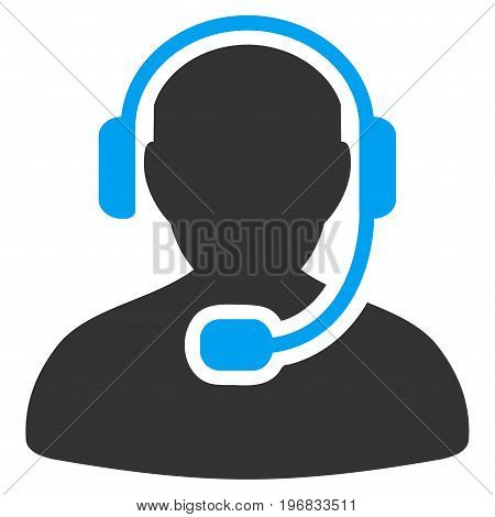 Call Center Worker vector pictograph. Style is flat graphic bicolor symbol blue and gray colors white background.