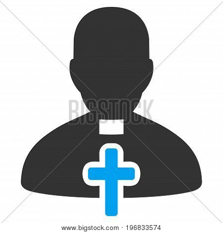 Catholic Priest vector pictograph. Style is flat graphic bicolor symbol blue and gray colors white background.