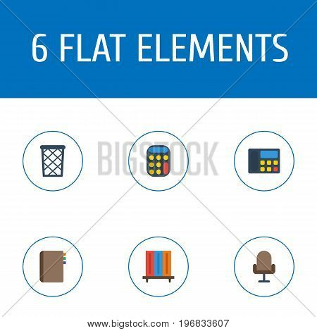 Flat Icons Trash Basket, Calculate, Armchair And Other Vector Elements