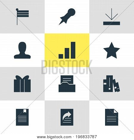 Editable Pack Of Gift, Upload, Document Transfer And Other Elements.  Vector Illustration Of 12 Web Icons.