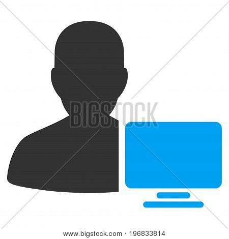 Computer Administrator vector icon. Style is flat graphic bicolor symbol blue and gray colors white background.