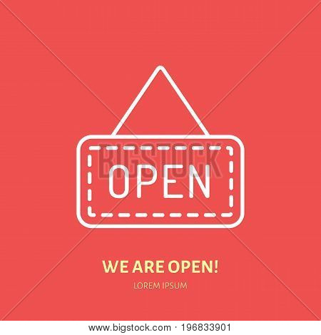 We are open sign vector flat line icon. Retail store supplies, trade shop, supermarket object. Thin linear signs for warehouse store.