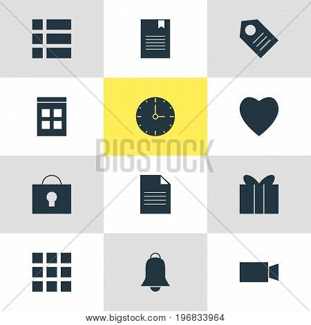 Editable Pack Of Bookmark, Document, Notification And Other Elements.  Vector Illustration Of 12 Web Icons.