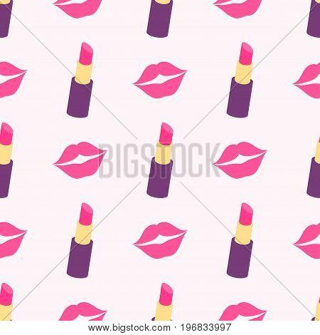 seamless pattern with pink lips and lipsticks