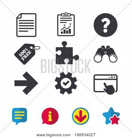 Question mark and puzzle piece icons. Document file and next arrow sign symbols. Browser window, Report and Service signs. Binoculars, Information and Download icons. Stars and Chat. Vector