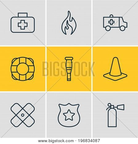 Editable Pack Of Spike, Taper, Burn And Other Elements.  Vector Illustration Of 9 Extra Icons.
