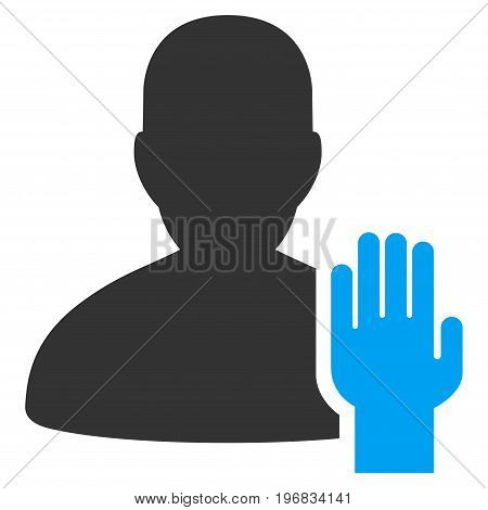 Elector vector pictogram. Style is flat graphic bicolor symbol blue and gray colors white background.