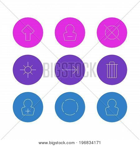 Editable Pack Of Repeat, Sunshine, Remove User And Other Elements.  Vector Illustration Of 9 Interface Icons.
