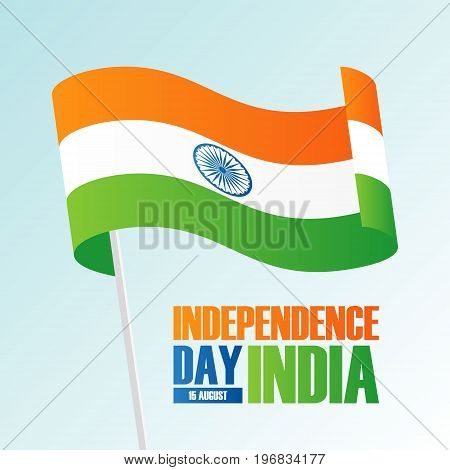 India Happy Independence Day, 15 august greeting card with waving indian national flag. Vector illustration.