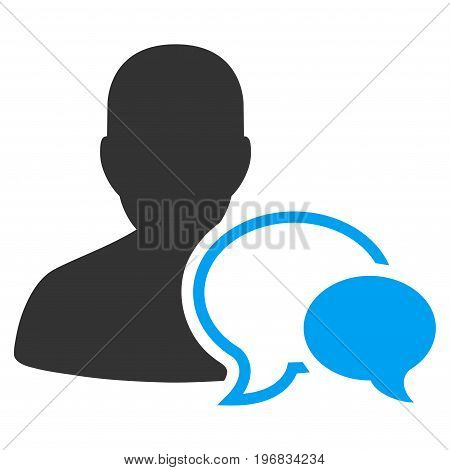 Forum Moderator vector pictogram. Style is flat graphic bicolor symbol blue and gray colors white background.