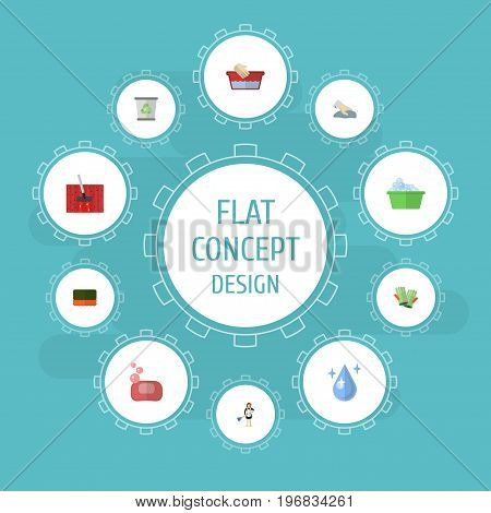 Flat Icons Towel, Wisp, Housewife And Other Vector Elements