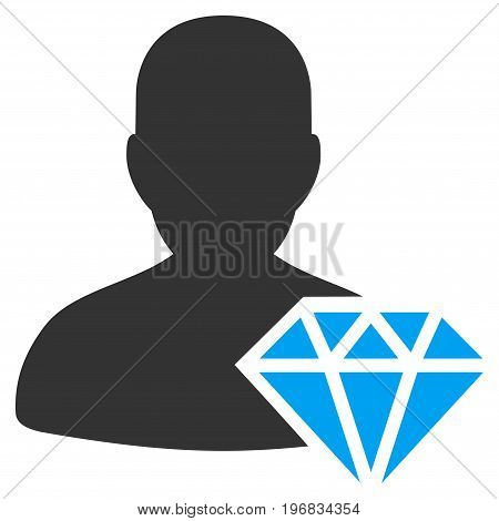 Goldsmith vector pictograph. Style is flat graphic bicolor symbol blue and gray colors white background.
