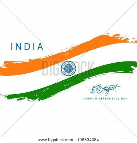 India Happy Independence Day greeting card with brush stroke in indian national flag colors. Vector illustration.