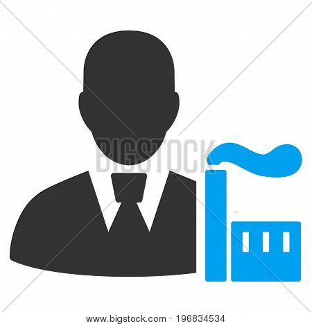Industry Capitalist vector pictogram. Style is flat graphic bicolor symbol, blue and gray colors, white background.