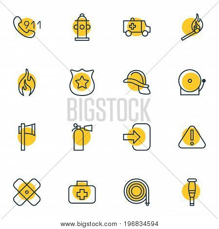 Editable Pack Of Hardhat, Ax, Badge And Other Elements.  Vector Illustration Of 16 Extra Icons.