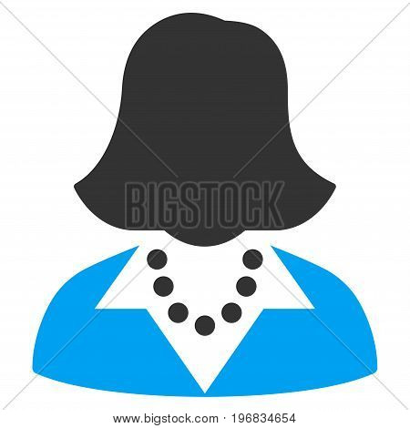 Lady vector icon. Style is flat graphic bicolor symbol, blue and gray colors, white background.