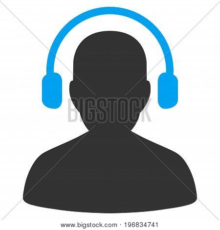 Listen Operator vector pictogram. Style is flat graphic bicolor symbol, blue and gray colors, white background.