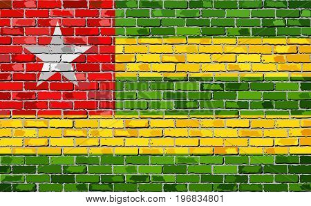 Flag of Togo on a brick wall - Illustration,  Abstract grunge mosaic vector