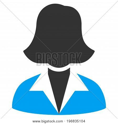 Office Lady vector icon. Style is flat graphic bicolor symbol, blue and gray colors, white background.
