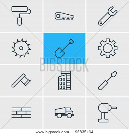 Editable Pack Of Circle Blade, Electric Screwdriver, Spanner And Other Elements.  Vector Illustration Of 12 Industry Icons.