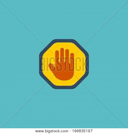 Flat Icon Palm Element. Vector Illustration Of Flat Icon Forbidden Isolated On Clean Background